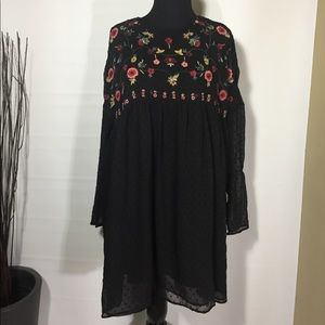 2017 Zara Trafaluc black plumetis dress tunic